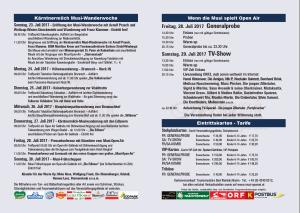 Programm Sommer Musi Flyer 2017